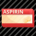 aspirin, drug, hand, medical, medicine, package