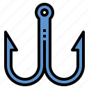 fishing, hobbies, hook, steel icon