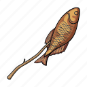 accessories, equipment, fish, fishing, food, fried, tackle icon