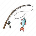 accessories, equipment, fish, fishing, fishing rod, spinning, tackle icon