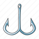 accessories, equipment, fishing, hook, tackle icon