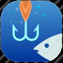 fish, fishing, hook, spoon, water