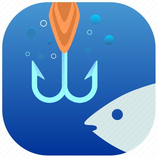 fish, fishing, hook, spoon, water icon