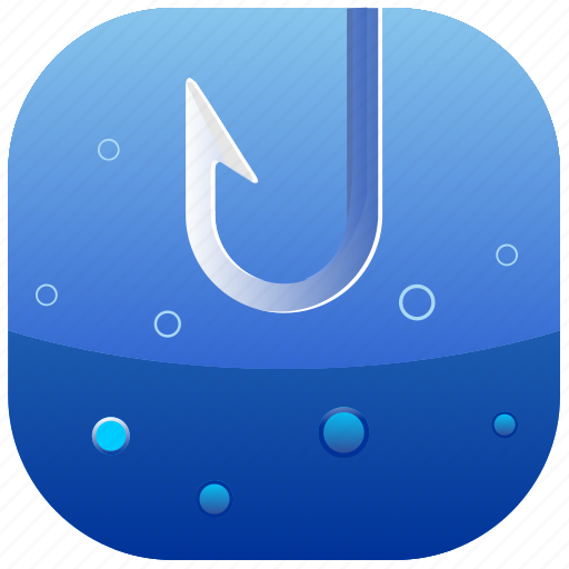 bubbles, fishing, hook, water icon