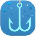 bubbles, double, fishing, hook, water icon