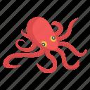 aquatic creature, fish, octopus, sea creature, seafood, specie icon