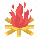 bonfire, campfire, camping cooking, combustion, firepit, woodfire icon