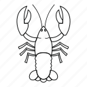 animal, claw, crayfish, eating, fishing, line, outline icon