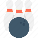 alley pins, bowling ball, bowling pins, game, hitting pins icon