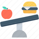 apple, balanced diet, burger, dieting, healthy food icon