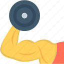 biceps, bodybuilder, dumbbell, fitness, muscle icon