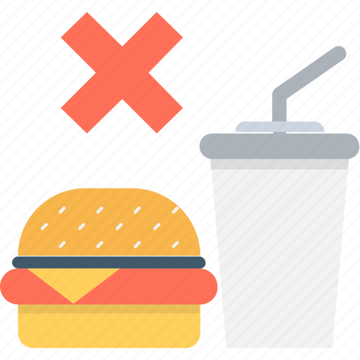 fast food, junk food, not allowed, prohibition, weight loss icon