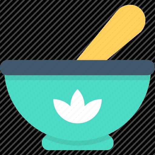 bowl, herbal medicine, mortar, pestle, pharmacy icon