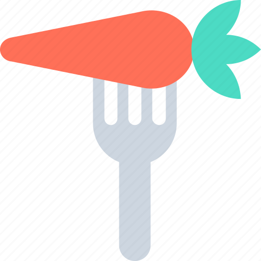 carrot, food, fork, healthy, vegetable icon