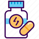 capsule, drugs, fitness, nutrition, supplement icon