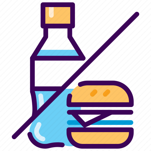 burger, cola, diet, fitness, healthy, junk food, no icon