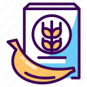 banana, breakfast, diet, healthy, meal, potassium, wheat icon