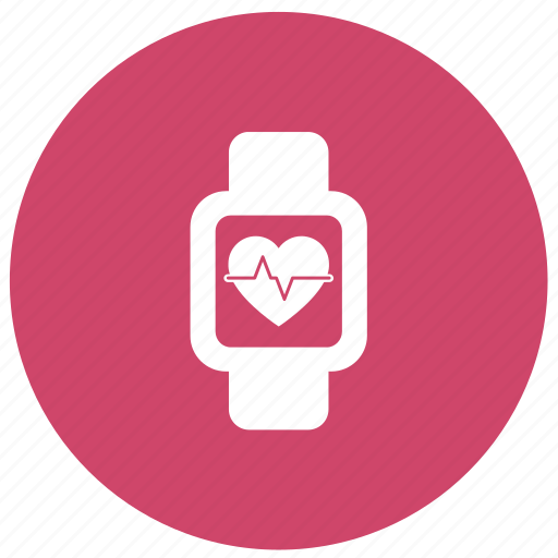 cardiogram, clock, fitness, heart pulse, smartwatch icon