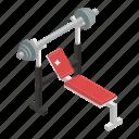 bench press, gym equipment, weight bench, weight machine, workout icon