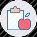 diet chart, diet plan, apple, checklist, fitness, clipboard, healthy diet