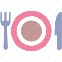 dinner, eating, fork and knife, fork plate, knife, lunch, plate, plate and fork n knife, restaurant icon