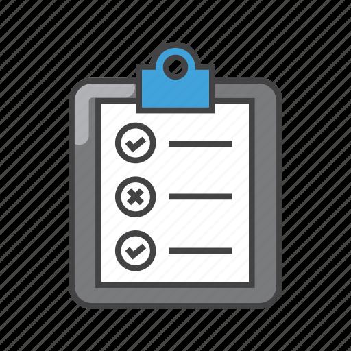 checkmark, document, file, list, report, todo list icon