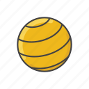 ball, equipment, exercise, fitness, gym, gym ball, pilates icon