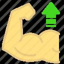 arm, arrow, exercise, grow, heavy, muscle icon