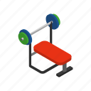 barbell, bench, exercise, fitness, gym, isometric, weight icon