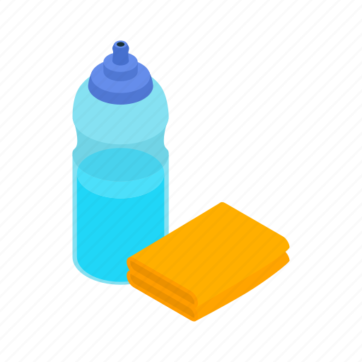 bottle, clean, cleaner, detergent, hygiene, isometric, sponge icon