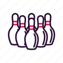 bowling, pins, sport, sport equipment icon