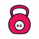 fitness, kettle bell, sport equipment, weight icon