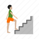 climbing, people, school, stairs, up, walking, young icon