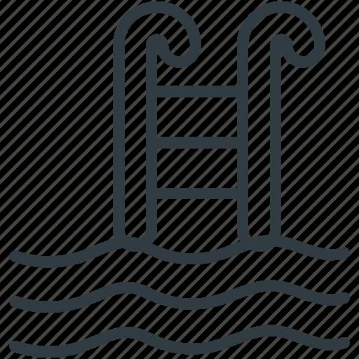pool, pool ladder, pool steps, swimming, swimming pool icon