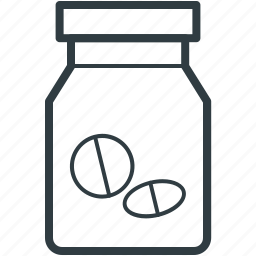 drugs, food supplements, medicine jar, pills, vitamins icon