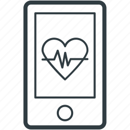 health app, heart line, medical app, mobile, pulsation icon