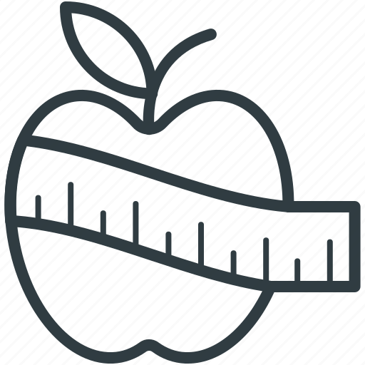 apple, healthy diet, healthy food, measuring tape icon