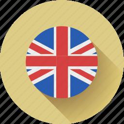 england, flag, round icon