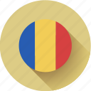 flag, romania, round icon