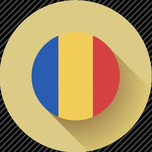 flag, romania, round icon