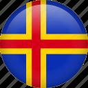 aland, circle, flag, nation, national icon
