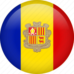 andorra, circle, country, flag, nation, national icon