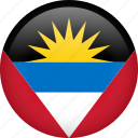 antigua and barbuda, circle, country, flag, nation, national icon