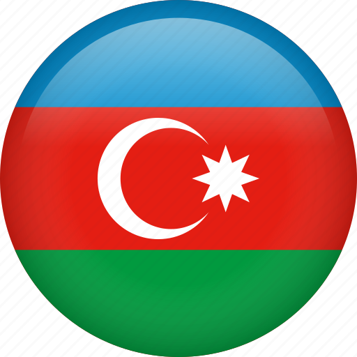 azerbaijan, circle, country, flag, nation, national icon