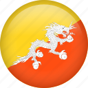 bhutan, circle, country, flag, nation, national icon
