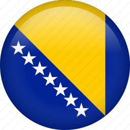 bosnia, circle, country, flag, nation, national icon