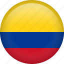 colombia, circle, country, flag, national, nation