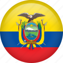 circle, country, ecuador, flag, nation, national icon