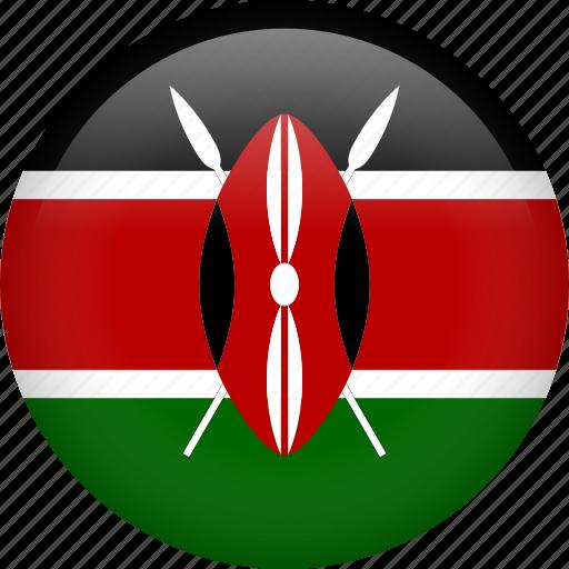 circle, country, flag, kenya, national icon