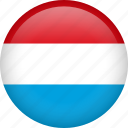 luxembourg, circle, country, flag, national icon